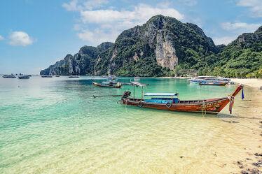 Bild mit Palmen, Inseln, Meerblick, Insel, asien, südostasien, Bucht, Longtailboot, Phi Phi, Thailand