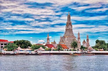 Bild mit Kunst, Buddha, südostasien, Tempelanlagen, Religion, Flussufer, Thailand, Wat Arun, Chao Phraya