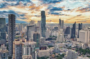 Bild mit Horizont, Sonnenuntergang, wolkenkratzer, südostasien, metropole, Thailand, Thailand, Bangkok, Bangkok