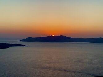 Bild mit Horizont, Sonnenuntergang, Inseln, Meerblick, Meer, Santorini
