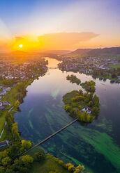 Bild mit Natur, Wasser, Sonnenuntergang, Brücken, Panorama, Insel, Rhein, Drohnen