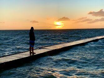 Bild mit Meere, Sonnenuntergang, Strand, Mittelmeer, Steg, Ferien