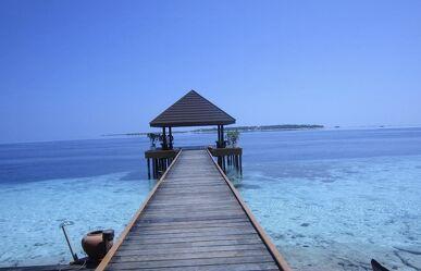 Bild mit Meerblick, Meer, Steg, Malediven