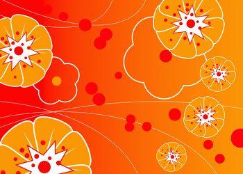 Bild mit Farben,Orange,Gelb,Illustration,wandtapete,fototapete,Blumenmotiv