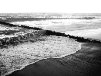 Bild mit Farben, Natur, Elemente, Wasser, Landschaften, Himmel, Gewässer, Küsten und Ufer, Materialien, Meere, Strände, Horizont, Brandung, Wellen, Stein, Sand, schwarz weiß, SW
